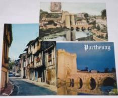 PARTHENAY - 79 - Lot 3 Cartes : CPA Porte St Jacques Vue Des Deux Sèvres;rue De La Vaux St Jacques;Pont Sur Le Thouet... - Parthenay