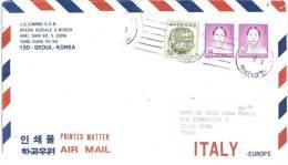 LETTERA VIAGGIATA  COREA DEL SUD   - ANNO 1987 - VERSO ITALIA - Korea, South