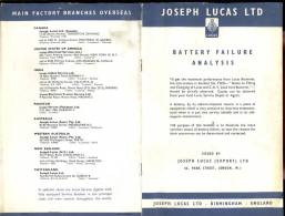 Brochure Joseph Lucas - Birmingham - Battery Failure Analysis - Boeken, Tijdschriften, Stripverhalen