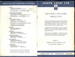 Brochure Joseph Lucas - Birmingham - Battery Failure Analysis - Livres, BD, Revues