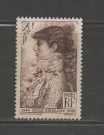 FRANCE 1945 Mint Hinged Stamp(s) Sarah Bernhardt 4+1 Franc Brown Nr. 729 - France