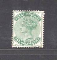 SOUTH AFRICA NATAL 1880 Unused (no Glue) Stamp  Queen Victoria  1/2d Blue Green 94A - South Africa (...-1961)