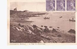 RARE CPA TIMBREE  DE 1942   DE PLOUHARNEL   LA PLAGE DE PORT-ER-STANG  AVEC  BATEAUX  SUPERBE - Non Classificati