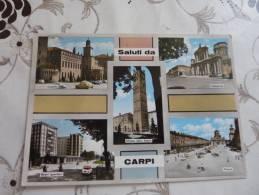 "Cpsm Carpi  "" Saluti Da "" Multivues Castello,cattedrale,nuovi Quartieri,piazza                              TBE - Carpi"