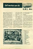 Reportage Uit Oud Magazine Van 5 Bladzijden - Zelf Werken Aan De B.M.C. Mini - 1959 - Planches & Plans Techniques