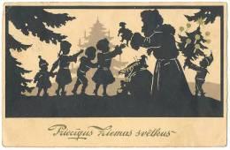 SANTA CLAUS + Xmas Tree Gold Printed Artist Card Sent 1934 Prieciqus Ziemas Svetkus - Latvia
