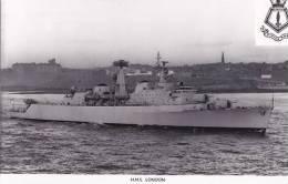 SHIPPING - H.M.S. LONDON.  PLAIN BACK - Warships