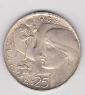 CZECHOSLOVAKIA. 25 KORUN 1965 . ARGENT. - Czechoslovakia