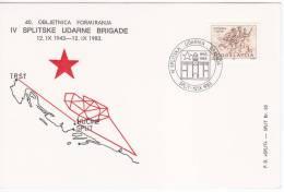 607. Yugoslavia, 1983, 40th Anniversary Of Split Assault Brigade, Commemorative Card - Militaria