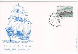 "609. Yugoslavia, 1983, 50 Years Of Training Ship ""Jadran"", Commemorative Card - Militaria"