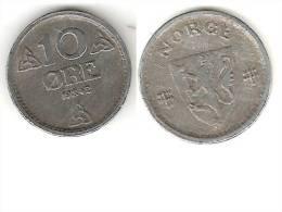 Norway 10 Ore 1942 Km 389    Xf+ !!!   * - Noruega