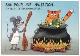 CPSM CHAT ILLUSTRATEUR DANIEL MENNEBEUF N° 134/ 250 FELIN POUR L AUTRE BON POUR INVITATION - Gatti