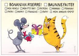CPSM CHAT ILLUSTRATEUR DANIEL MENNEBEUF N° 134/ 250 FELIN POUR L AUTRE BON ANNIVERSAIRE - Gatti