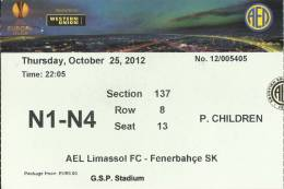 AEL Limassol-Fenerbahce Europa League Football Match Ticket - Tickets D'entrée