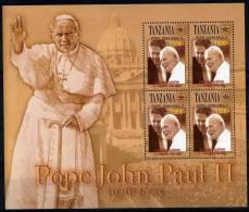**4** - TANZANIA 2005 - Alla Memoria Di S.S. Giovanni Paolo II° - 4 Val In BF. MNH** - Perfetti