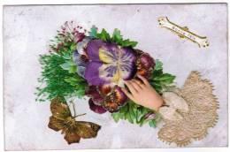 CPA Carte Voeux, Bonne Fête, Dentelle (vrai!), Fleurs En Soie En Paille (pk6252) - Unclassified