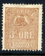 SWEDEN 1862 Lion 3 öre Type I, Unused.  Michel 14 I - Sweden