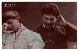 COUPLES A COUPLE AND FLOWERS NPG HAZAS OLD POSTCARD 1908. - Couples