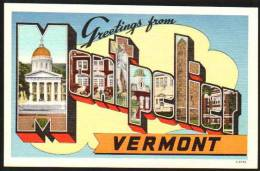 Montpelier, Vermont Large Letter Postcard - United States