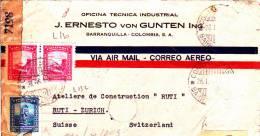 LETTRE  --  VIA AIR MAIL  --  CORREO AEREO, COLOMBIA  --  WEHRMACHT ZENSUR - Kolumbien