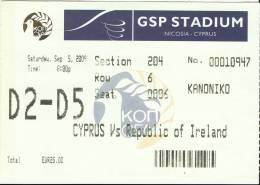 Cyprus-Republic Of Ireland FIFA World Cup Qualifying Round Football Match Ticket/stub - Tickets D'entrée
