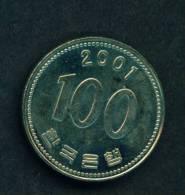SOUTH KOREA  -  2001  100 Won  Circulated As Scan - Korea, South
