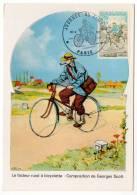 Facteur Rural à Bicyclette Dessin Georges Scott Carte Maximale Journée Du Timbre 1972 état Superbe - Other
