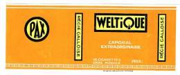 ETIQUETTE JAUNE  WELTIQUE (no Celtique)  PAX . REGIE GALLOISE - CAPORAL EXTRAORDINAIRE -  16 CIGARETTES GROS MODULE. - Autres