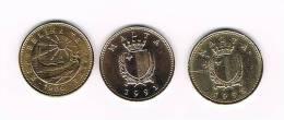 MALTA   3 X 1 CENT 1986 - 1991 - 1995 - Malte (Ordre De)