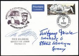 SVERIGE, Snow Hill 29.1.2002 ,Nordenskjöld Polar History Expedition 2002, Signature: Leader !! - Filatelia Polare
