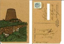 Nuraghe (Sardegna). Cartolina In Sughero Viaggiata 1979 (Renato Mattu Circonvallazione Quadrifoglio Pirri Cagliari Capre - Cartoline
