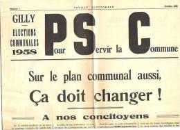Journal = Elections Communales De 1958 - Feuille électorale De Gilly N° 1 Du P.S.C. - Journaux - Quotidiens