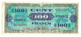 Billets) 100 FRS  France -  1945  -  Serie 8  - N° 93565285   (  3  épinglages  + Plis ) - Treasury
