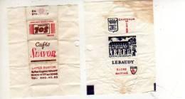 Lot De 2 Papiers D´emballage De Sucre Sol Cafés Suavor  Et Lebaudy Chenonceaux - Sucres