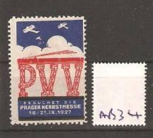 Advertisement Label 1927 Prager Messe Aviation Train - Treni
