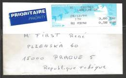 1999 Franking Label Franc & Euro, Castries To Plzen Czechoslovakia - 1999-2009 Illustrated Franking Labels