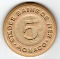 Jeton De Casino : Sté Des Bains De Mer Monaco : 5 (francs) : Plastique - Casino