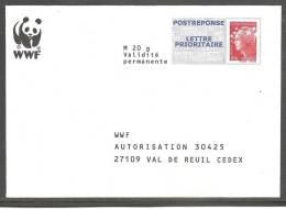 PAP Réponse Beaujard  _____ WWF N° Verso 11P397 - Entiers Postaux