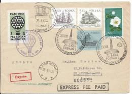 "REG. 1964 INTERNATIONAL POZNAN FAIRE  BALLOON FLIGHT COMPETITION  "" KATOWICE "" - Poste Aérienne"