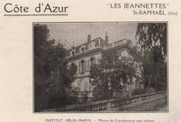 ST  Raphael Les Jeannettes Institut Helio Marin1923 Maison De Convaleescence Pour Enfants - Publicidad