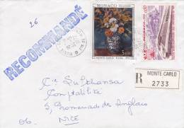 MONACO MARCOPHILIE, Lettre RECOMMANDE Cachet 1972 MONTE-CARLO Pour NICE,Vase Avec Fleurs/1705 - Monaco