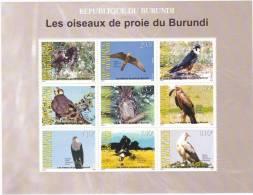 [X] Feuillet ** Oiseaux De Proie - Rapaces - Birds Of Prey - Burundi (émission Officielle / Official Issue)