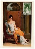 Gerard Madame Récamier Portrait  Carte Maximum Lyon 1951 état Superbe - Pittura & Quadri