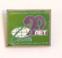 SPUTNIK 20th Flight SSSR - INTERNATIONAL YOUTH TRAVEL BUREAU OF THE USSR / Glass - Mirror Badge Russia - Space