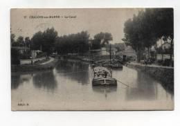 CPA 51 :  CHALONS  Canal Avec Péniches  1916    A   VOIR  !!!! - Châlons-sur-Marne