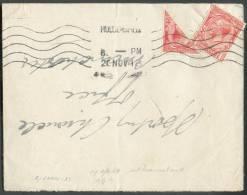 Roi Georges V 1pence Rouge + ½ Penny (timbre De 1 Penny Coupé En Deux En Diagonale) Obl; Mécanique De HUDDERSFIELD S/let - Covers & Documents