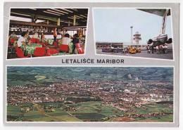 TRANSPORT AERODROME MARIBOR SLOVENIA YUGOSLAVIA BIG POSTCARD - Aerodrome