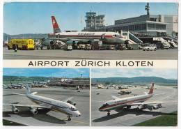 TRANSPORT AERODROME KLOTEN ZURICH SWITZERLAND BIG POSTCARD 1973. - Aerodrome