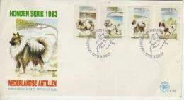 HODEN SERIE 1993 NEDERLANDSE ANTILLES  SELLOS DE PERROS  FDC SOBRE EERSTE DAG VAN UITGIFTE  OHL