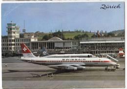 TRANSPORT AERODROME KLOTEN ZURICH SWITZERLAND JAMMED CORNER BIG POSTCARD - Aerodrome